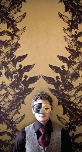 Aphrodite Wallpaper in Bordeaux a golden touch Pinterest