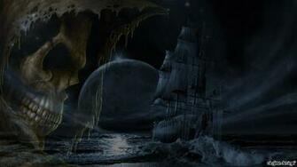 Skulls moon ships ghosts digital art ghost ship wallpaper 78329