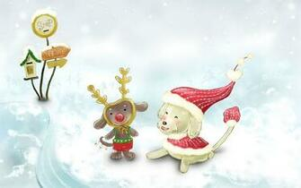 Cute Christmas Animals In Snow computer desktop wallpapers