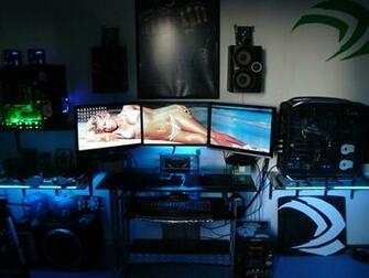 gaming room 3 way SLi 3 monitor setup by badh8me