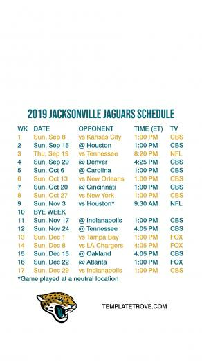 2019 2020 Jacksonville Jaguars Lock Screen Schedule for iPhone 6 7