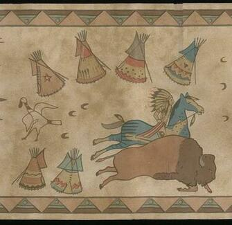 Western Native American Indian Buffalo Aztec Horse Wall Wallpaper