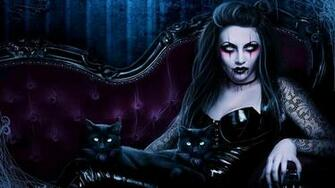 Dark fantasy gothic vampire evil horror cats art wallpaper 1920x1080
