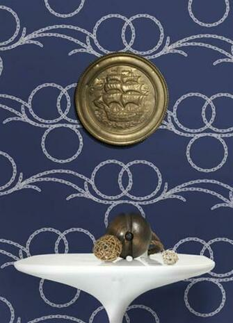 Buy Online Chains Wallpaper in Navy and White Kreme Best Selling