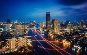 Night Lights Traffic HD Wallpaper Download Bangkok Thailand Night