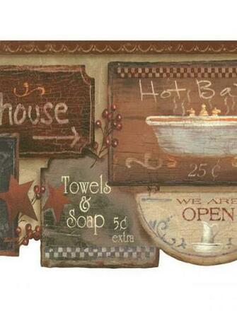 Rustic Bath Signs Wallpaper Border JN1848B country bathroom
