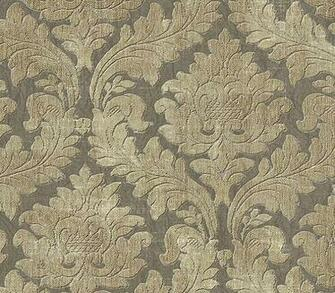 Details about Wallpaper Designer Cream and Beige Damask on Gray