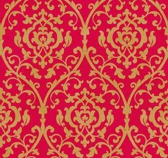 Leaf Trellis Damask Lattice Scroll on Red by The Wallpaper and Border