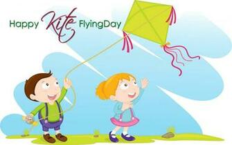 Happy Makar Sankranti Colorful Flying Kites Festival Photo HD