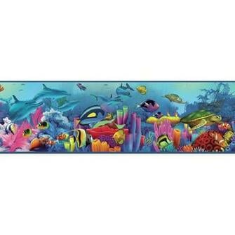 Down Under Neptunes Garden Portrait Sea Creature Wallpaper Border