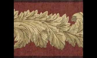 Home Dark Brown Leaf Molding Wallpaper Border