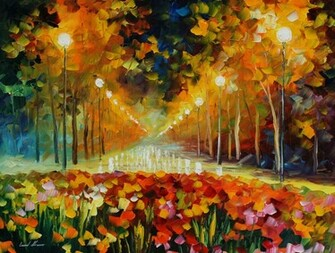 Leonid afremov painting painting street lights light wallpapers