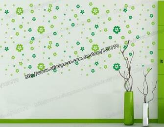 Yellow and Green Flowers PVC Wall Decorative Sticker Removable and
