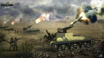 Wallpaper WOT Nikita Bolyakov SPG Firing M 40 vdeo game