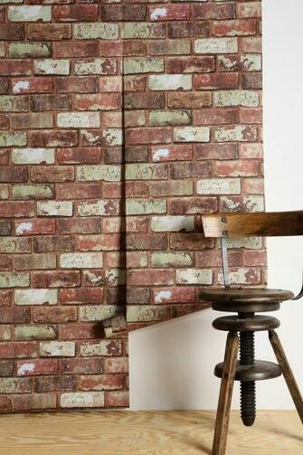 an accent wall with this wallpaper Graham Brown Red Brick Wallpaper