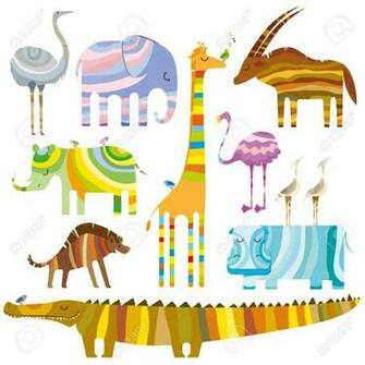 Some Colourful African Animals In Dreamtime On White Background