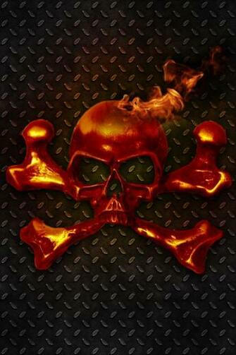 Flaming Skull Crossbones Retina Display Wallpaper iPhone Fan Site