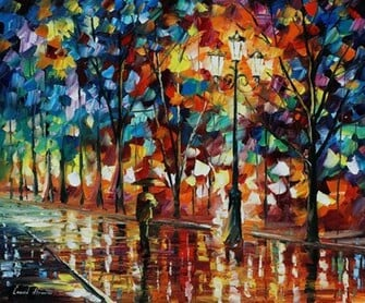 leonid afremov   de man alleen paraplu wallpaper   ForWallpapercom