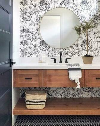 Modern farmhouse bathroom with floral wallpaper   love this