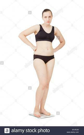 sad thick overweight woman on scales isolated over white