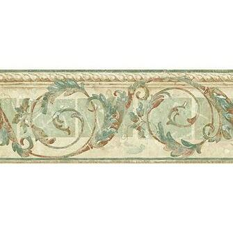 Seaton Scroll Wallpaper Border GreenBeigeBrown   Walmartcom