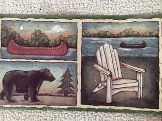 Rustic Lodge Wallpaper Border with Bear Canoes and Lake eBay