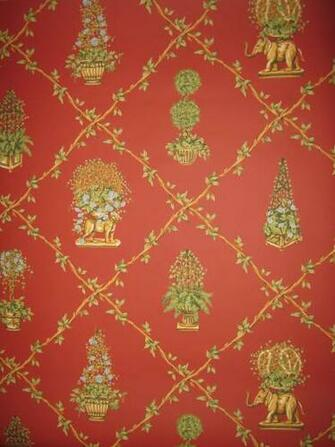 One roll Thibaut East Indian inspired trellis wallpaper From