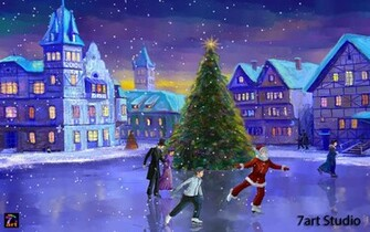 Christmas tree is shining with festive moods Bring the Christmas