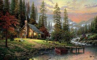 Mountain Cabin Painting Wallpaper WallpaperzCO