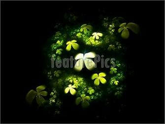 illustration of a four leafed clovers field on black background