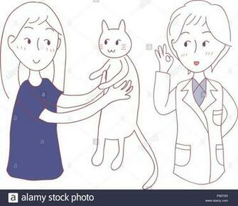 Girl bring Cat to meet Vet Vector Illustration isolated on White