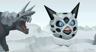 Aggron chasing Glalie by umbbe