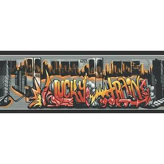 Graffiti Lucky Train Wallpaper Border BlackSilver   Walmartcom