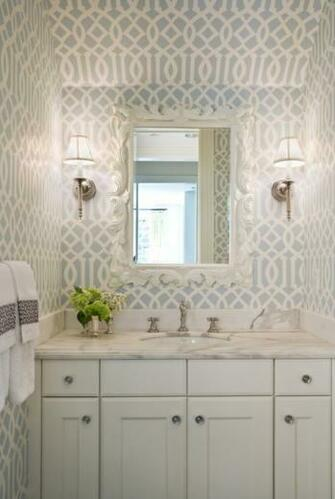 Wallpaper in Powder Rooms Interior Designer in Charlotte   Interior