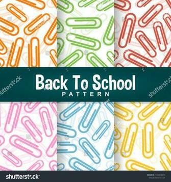 Set Background Back School Colorful Paperclip Stock Vector
