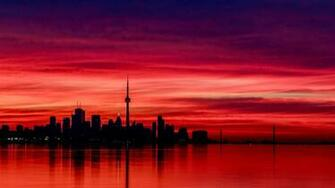 Download wallpaper toronto at night canada cn tower evening red