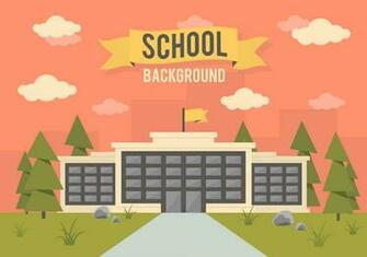 School Landscape Vector Background   Download