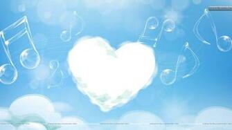 White Cloud Heart And Music Strings In Sky Wallpaper