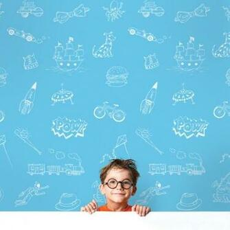 Doodle BlueWhite Removable Wallpaper   WallCandy Arts