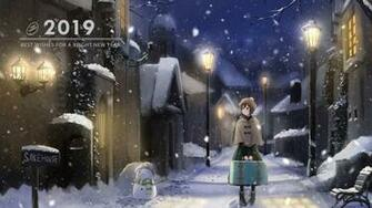 Download 1920x1080 Snow Anime Girl Winter Welcome 2019 Snowman