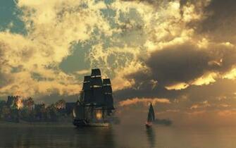 Fire ships pirates sail ship sails wallpaper background
