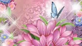 Blue Butterfly and Pink Flowers Wallpaper HD images from pin it