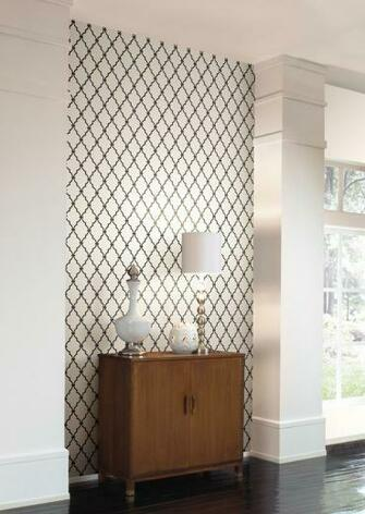 Yorks trellis Wall in a Box wallcovering kit features a sophisticated