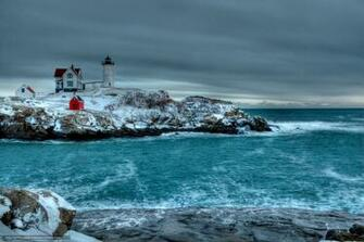 wallpaper Winter sea rocky shores lighthouse desktop wallpaper