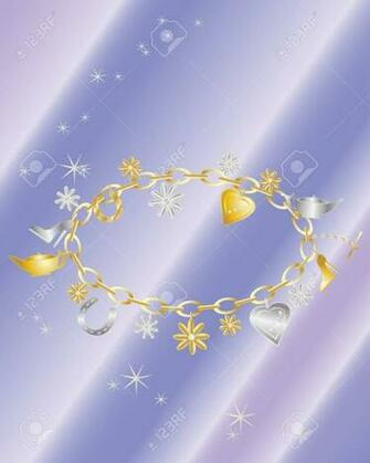An Illustration Of A Charm Bracelet With Gold And Silver Charms