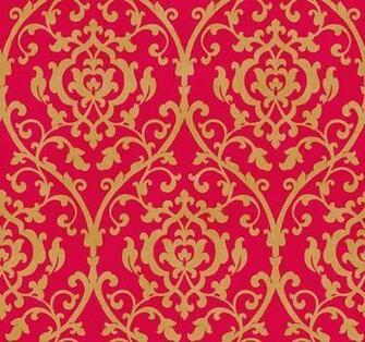 Wallpaper Designer Metallic Gold Leaf Trellis Damask Lattice Scroll on