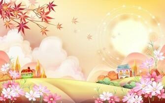 Pink Cartoon Nature   Wallpaper 43679
