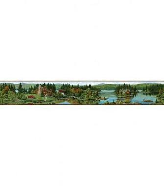 Log Lake Brown Lakeside Cabin Wallpaper Border SampleLog Lake Brown