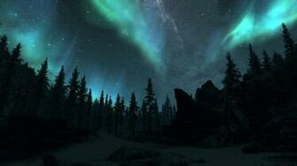 northern lights   Skyrim Wallpaper