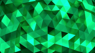 Emerald abstract background of moving shinning triangles low poly